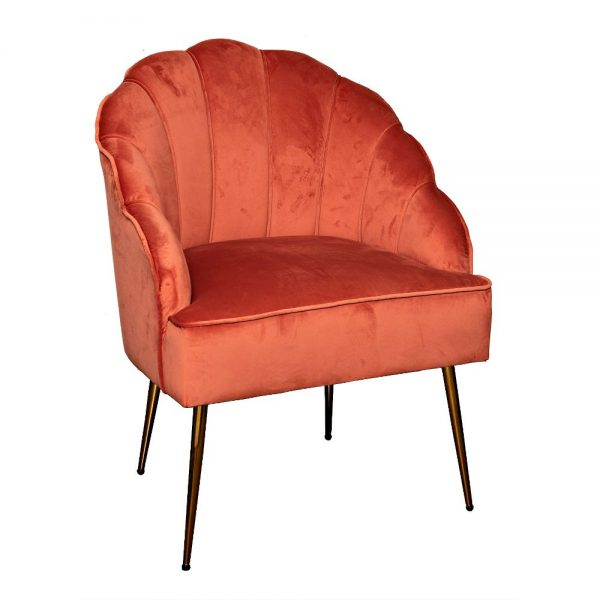 Coral Velvet Clam Chair