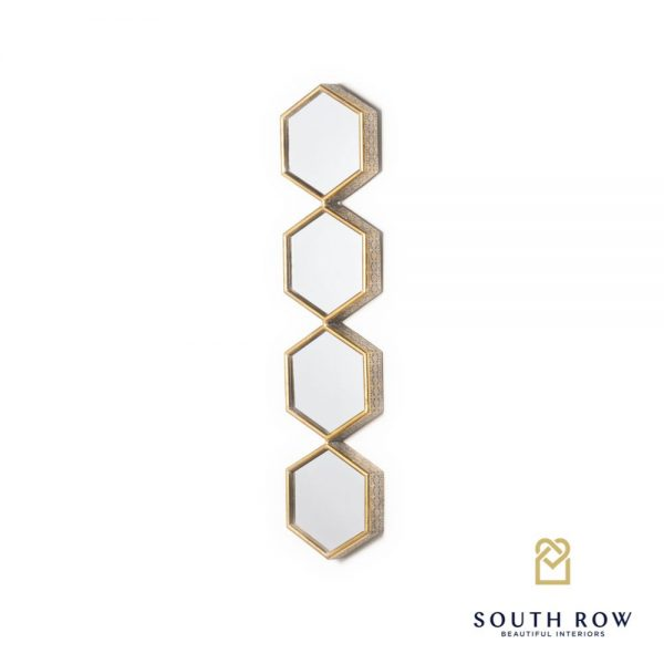 Amira Hex Accent 4 Section Gold Mirror