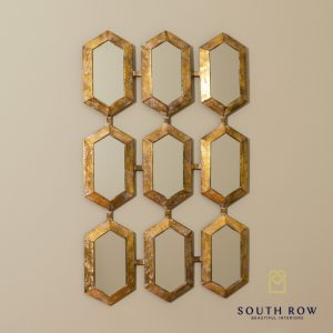 Amira Hex Accent Mirror 9 Section Gold