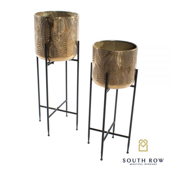 Azure Set of Two Gold Leaf Planters with Stand