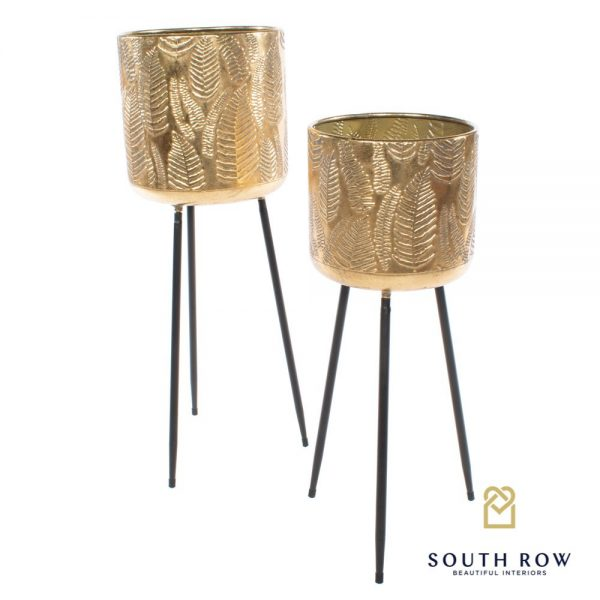 Azure Set of 2 Gold Leaf Planters On Tripod Stand