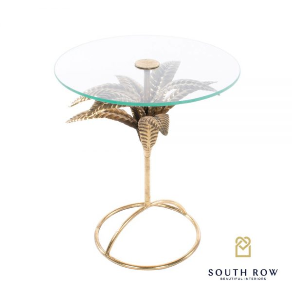 Azure Leaf Accent Gold Round Table