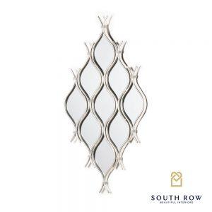 Silver 9 Mirror Cluster Interlocking Wave Design