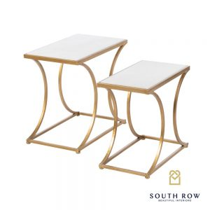 Bella Set of 2 Marble Top Gold Accent Tables