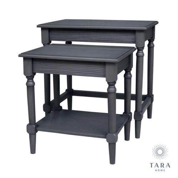 Brooklyn Set of 2 Charcoal Grey Nesting Tables
