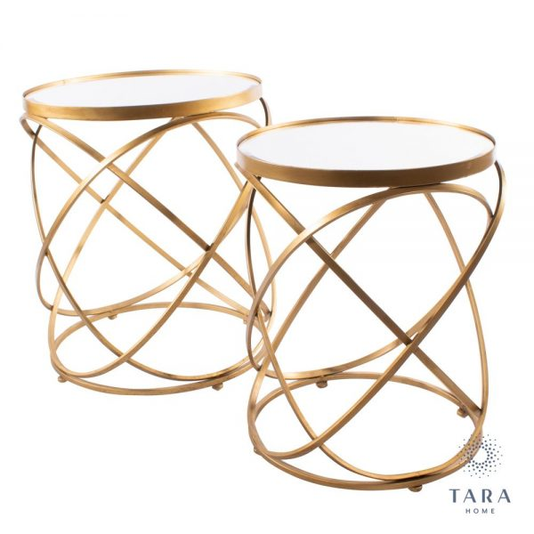Spirals Set of Gold Side Tables with Mirrored Top