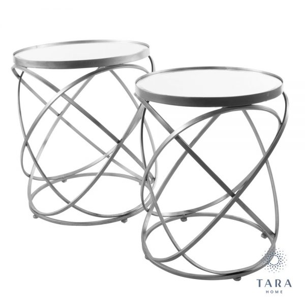 Spirals Set of Silver Side Tables and Mirrored Top