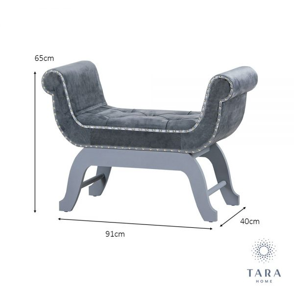Smooth Velvet Love Seat Grey