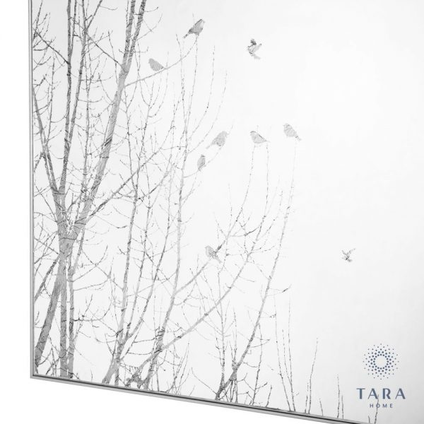 Forest Silhouette Mirror Art With Silver Frame