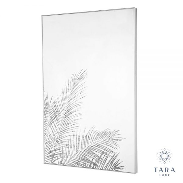 Fern Silhouette Mirror Art With Silver Frame