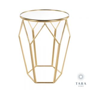 Geometric Accent Gold Table with Mirrored Top