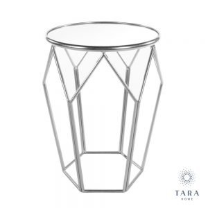 Geometric Accent Silver Table with Mirrored Top