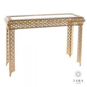 Casablanca Gold Metal Console Table