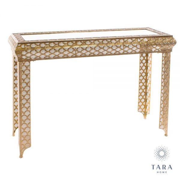 Casablanca Gold Metal Console Table