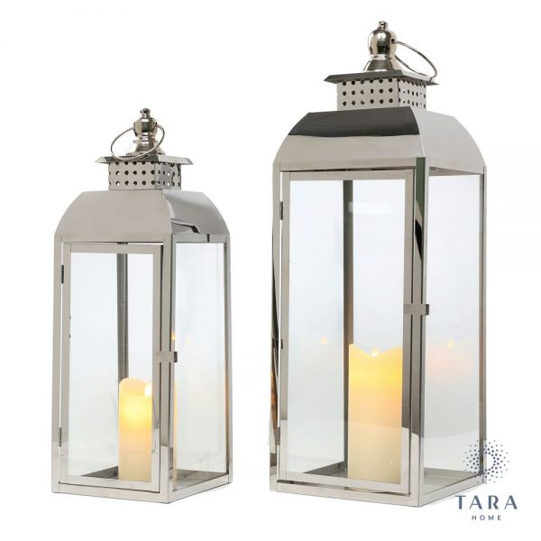 Tiffany Set of Two Chrome Lanterns