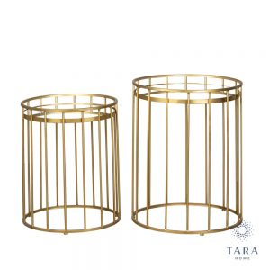 Cage Set of Two Round Gold Side Tables