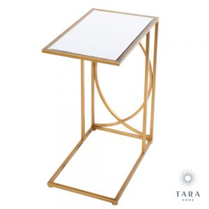 Franklin Gold Side Table with Mirrored Top