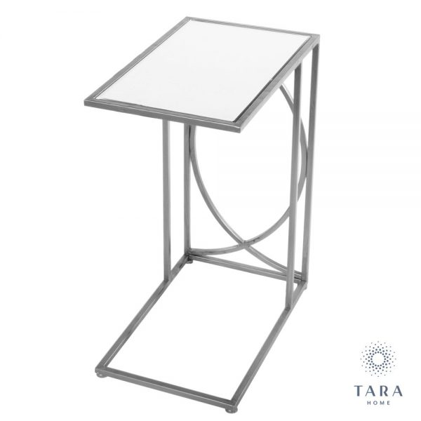 Franklin Silver Side Table with Mirrored Top
