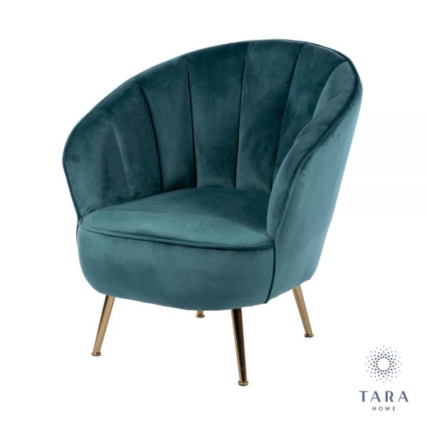 Kendall Accent Teal Chair With Golden Legs