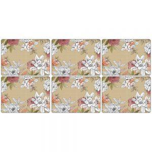 Pimpernel Floral Sketch Six Placemats