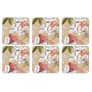 Pimpernel Floral Sketch Six Coasters