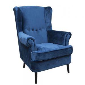 Velvet Arm Chair Blue with Black Wooden Legs