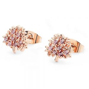 Rose Gold Tree Of Life Earrings With CZs