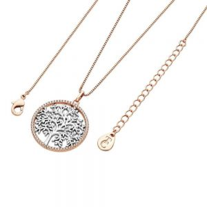 Silver Tree of Life in Rose Gold CZ Circle Pendant