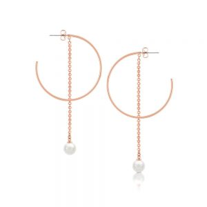 Romi Rose Gold Pearl and Chain Earrings