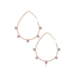 Romi Rose Gold Purple Stone Earrings