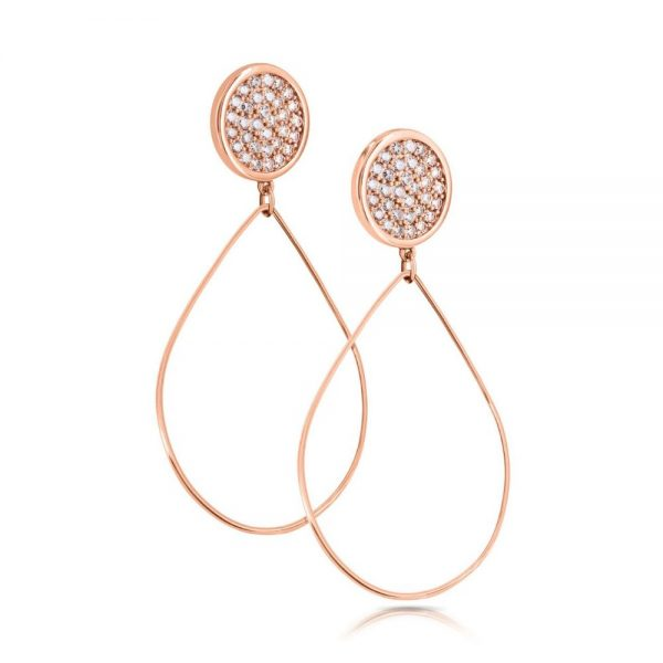 Romi Rose Gold Pave Disc Drop Earrings