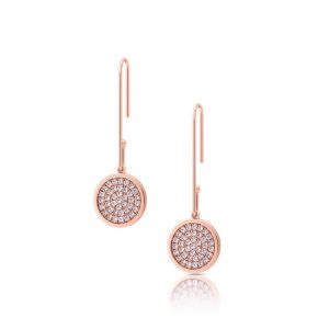 Romi Rose Gold Bent Pave Earrings