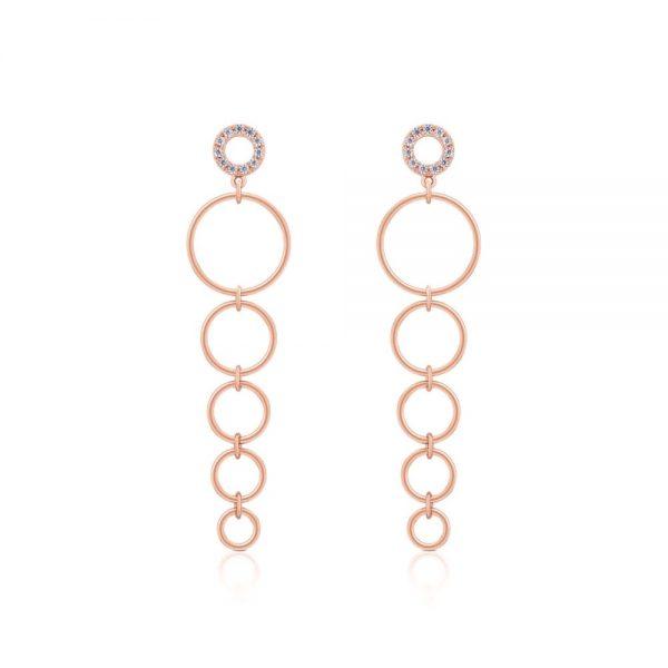 Romi Rose Gold Circle Drop Earrings