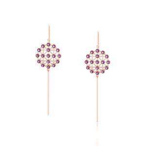 Romi Rose Gold Net Purple Earrings