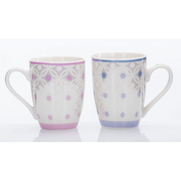 Newgrange Pearl Bone China Mug Pair Pink and Blue