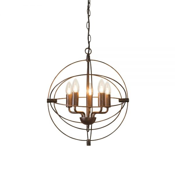 Ophelia Distressed 5 Light Globe Ceiling Pendant