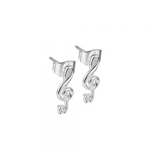 Treble Clef Earrings with Clear Stones