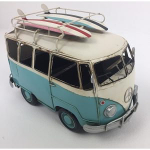 VW Blue Vintage Camper with Two Surf Boards