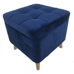 Square Navy Stool with Storage Compartment