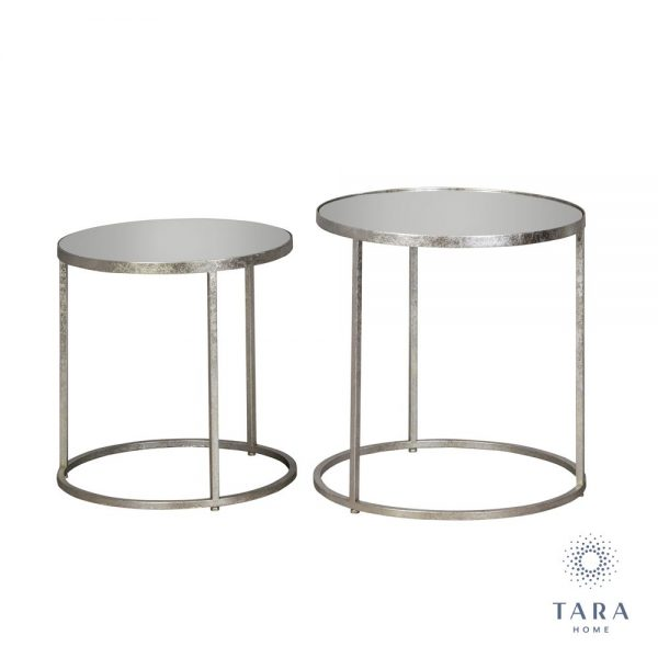 Avery Set of 2 Silver Side Tables Round