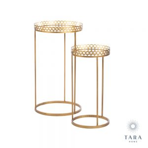 Ridgley Set of 2 Mirrored Accent Tables Round Gold
