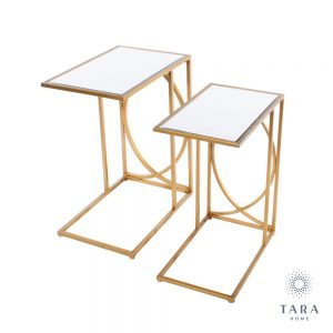 Set 2 Franklin Sofa Tables Gold with Mirrored Top
