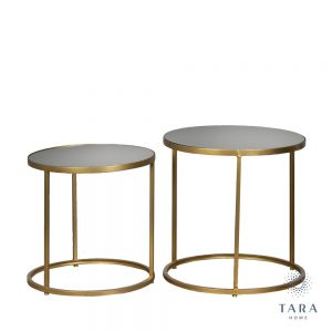 Avery Gold Set of 2 Round Side Tables