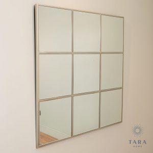 Square Champagne Window Mirror