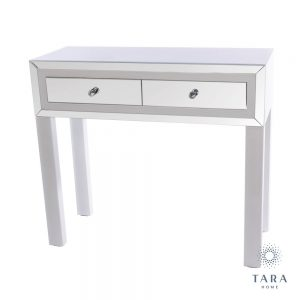 Freya 2 Drawer White Mirrored Console Table