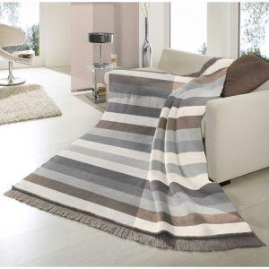 Biederlack Stripe Natural/Grey Blanket150x200