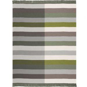Biederlack Block Stripe Green Blanket 150x200