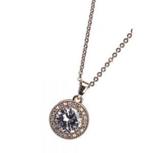 Rose Gold White Stone Diamante Pendant Necklace