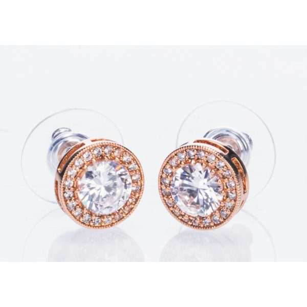 Rose Gold White Stone and Diamante Earrings