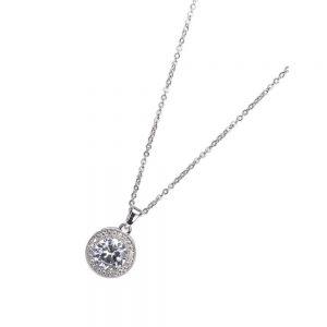 Silver White Stone and Diamante Pendant Necklace